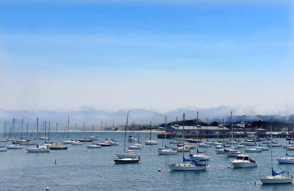 . Fog and drift smoke over Monterey on Monday, August 6, 2018.  (Vern Fisher - Monterey Herald)