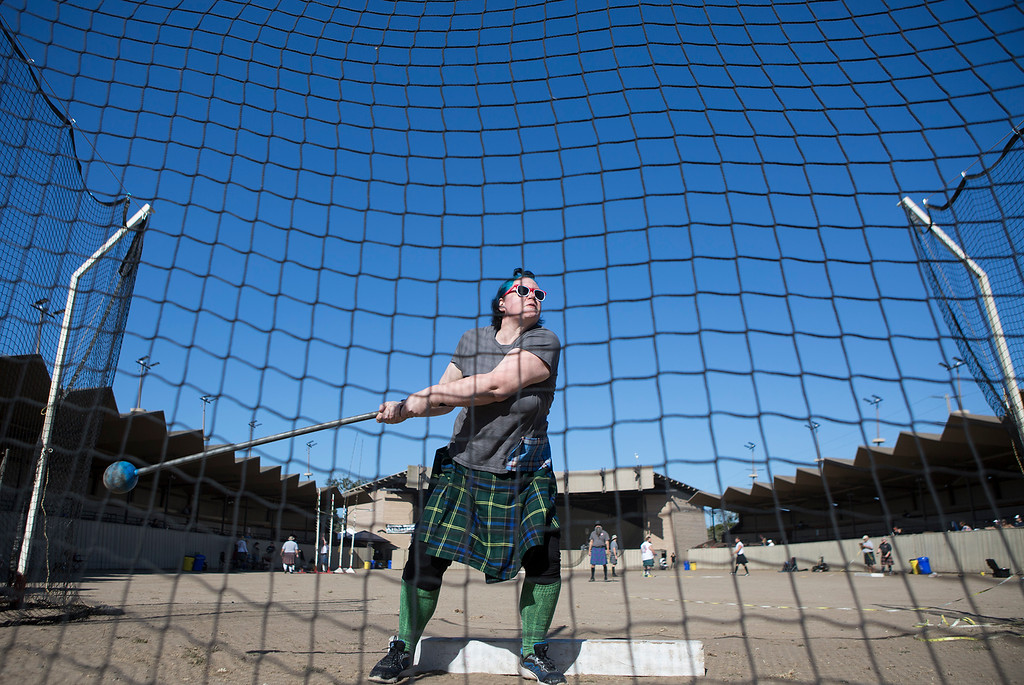 . Bethany Owen of San Jose tosses a 16 lb. weight during the Heavy Hammer competition at the Monterey Scottish Games & Celtic Festival at the Monterey Fairgrounds and Event Center on Saturday August 4, 2018. Contestants in the Heavy Athletics competed in nine different events. (David Royal/ Herald Correspondent)