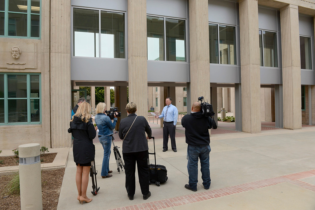 . Dewayne Woods leads a media tour of the newly refurbished Monterey County Courthouse on Tuesday, August 7, 2018.  (Vern Fisher - Monterey Herald)