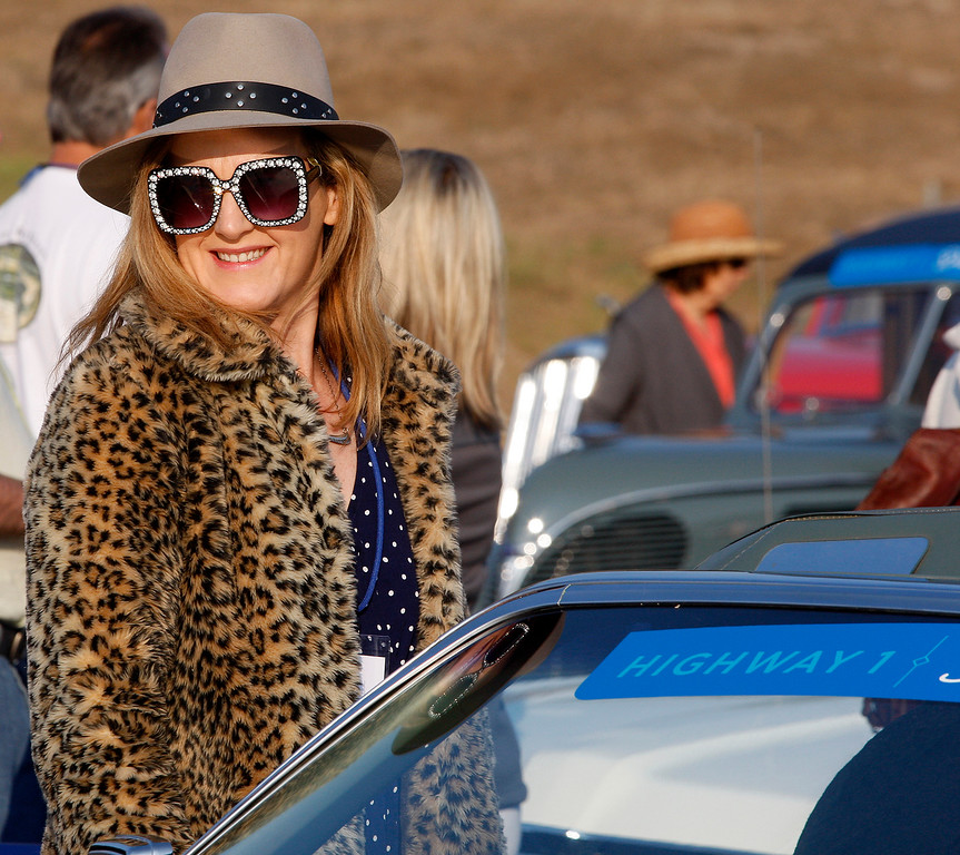 . Kylie McLaughlin a reporter from Austraila at Laguna Seca on Thursday, August 9, 2018 to participate in the California\'s Dream Drive celebrating the re-opening of Highway 1.  Dozens of classic cars and modern day vehicles drove from Monterey County to San Luis Obispo County.  (Vern Fisher - Monterey Herald)