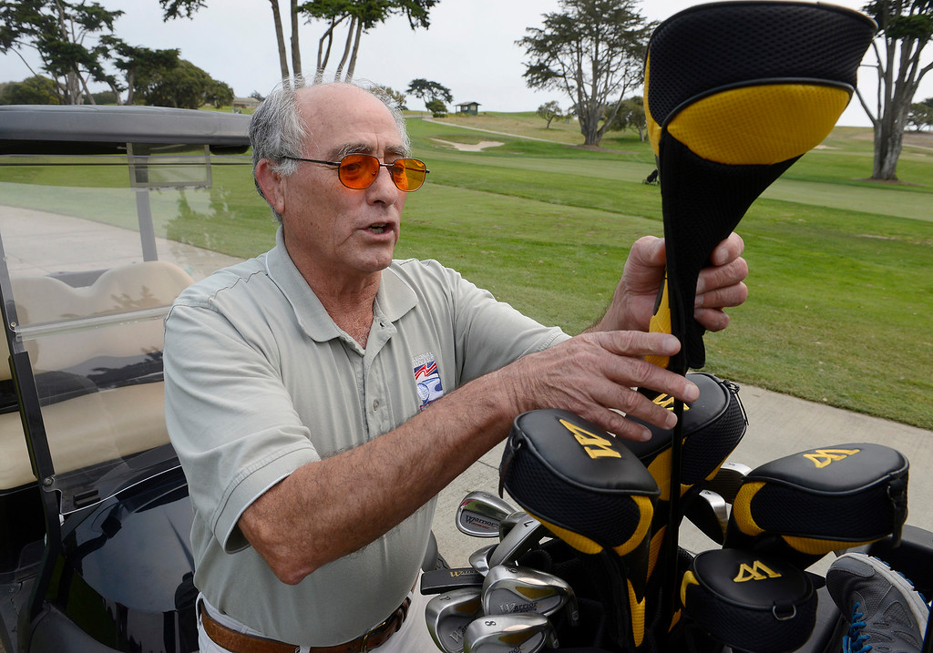 . U.S. Navy veteran, Carlos Franco on the practice range at Bayonet and Black Horse Golf Club in Seaside on Tuesday, August 7, 2018.  Franco who is blind is learning golf through the PGA HOPE (Helping Our Patriots Everywhere) program at the Seaside golf course.  (Vern Fisher - Monterey Herald)