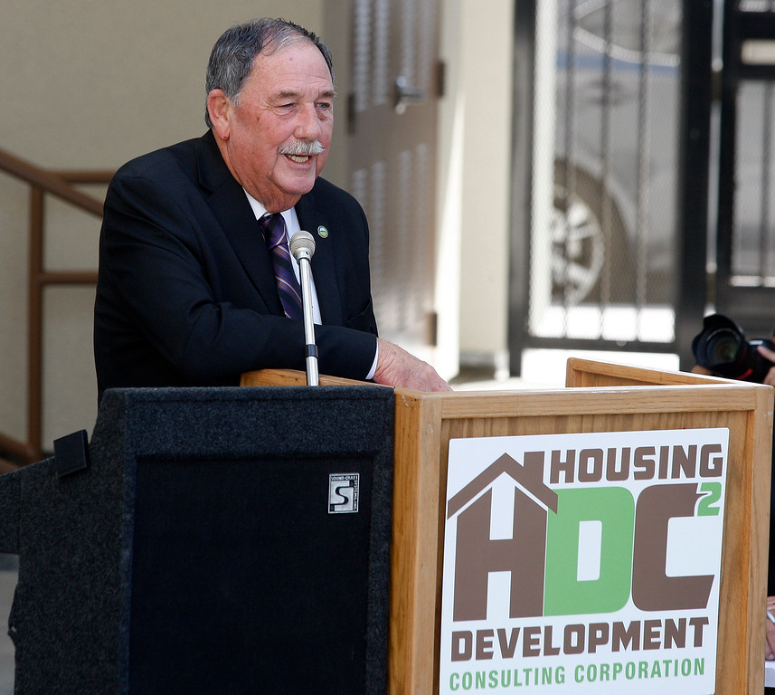 . Salinas mayor Joe Gunter speaks at the ceremony at the Monterey County Housing Authority Development Corporation (HDC) celebrated the grand opening of their most recent affordable housing redevelopment in Salinas on Thursday, September 6, 2018.    The Hikari phase on East Rossi Street will consist of fifty units in the one, two and three bedroom size.  (Vern Fisher - Monterey Herald)