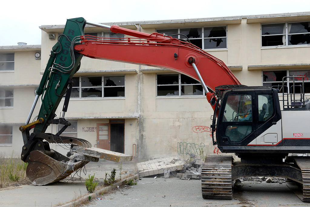 . Heavy equipment started with the demolition at a kick-off event for the new Campus Town on Fort Ord in Seaside on Wednesday, September 5, 2018.  (Vern Fisher - Monterey Herald)