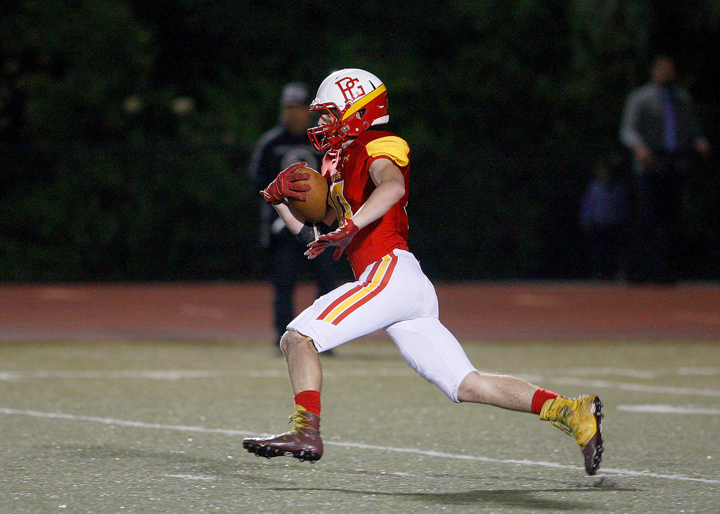 . Pacific Grove High School\'s Jake Haney (10) runs for yards during their game against Gonzales High School on Friday, August 31, 2018.  (Vern Fisher - Monterey Herald)