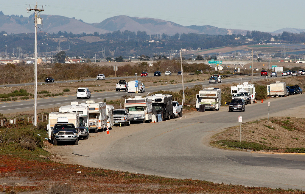 . Homeless people in their recreation vehicles that used to park on Lapis Road now park on Monte Road north of Marina on Thursday, Dec. 21, 2017.  (Vern Fisher - Monterey Herald)