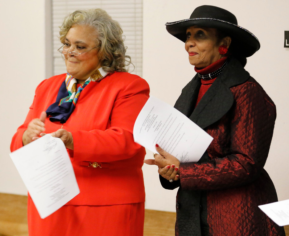 . In-coming Monterey County NAACP president Regina Mason stands with executive committee member Ruthie Watts during the Monterey County branch of the NAACP swearing-in ceremony at Friendship Baptist Church on Monday, January 2, 2017 in Seaside, Calif. (Vernon McKnight/Herald Correspondent)