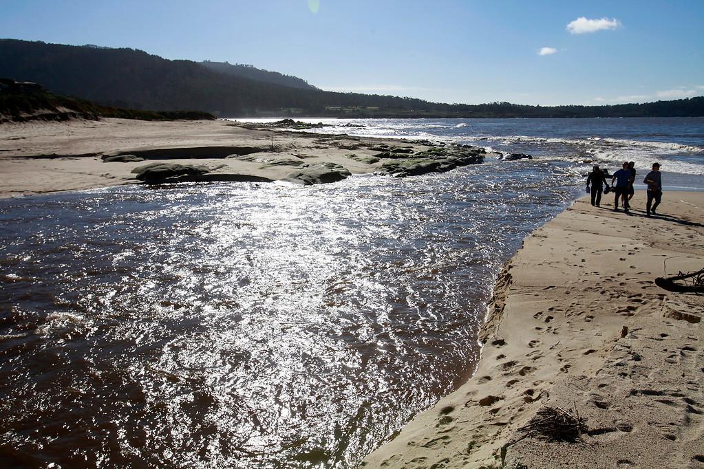 . Carmel River is flowing high on Thursday, Jan. 5, 2016.  (Vern Fisher - Monterey Herald)