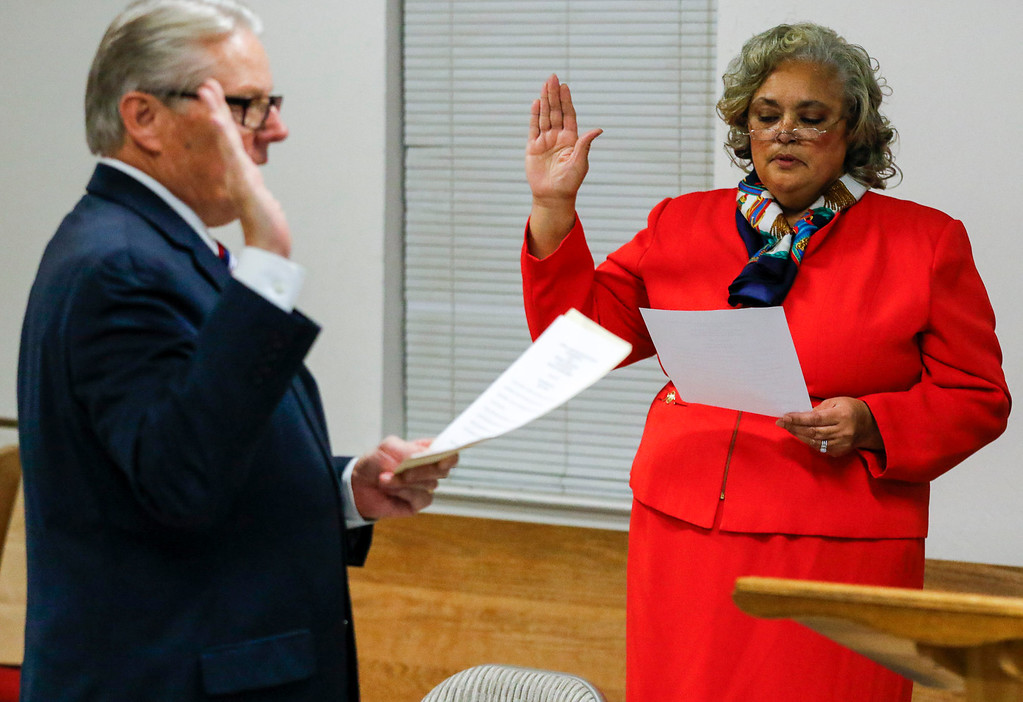 . Regina Mason is sworn is by State senator Bill Monning as president of Monterey County NAACP during the Monterey County branch of the NAACP swearing-in ceremony at Friendship Baptist Church on Monday, January 2, 2017 in Seaside, Calif. (Vernon McKnight/Herald Correspondent)