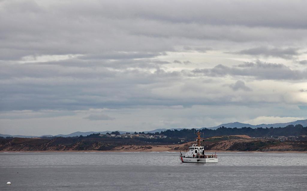 . The U.S. Coast Guard ship Hawksbill off San Carlos Beach Park in Monterey on Tuesday, Jan. 3, 2017.  (Vern Fisher - Monterey Herald)
