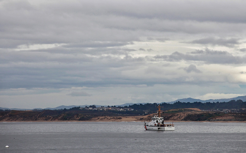 . The U.S. Coast Guard ship Hawksbill off San Carlos Beach Park in Monterey on Tuesday, Jan. 3, 2017.  (Vern Fisher - Monterey Herald)