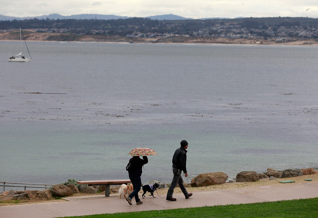 . People deal with the rain while walking at San Carlos Beach Park in Monterey on Tuesday, Jan. 3, 2017.  (Vern Fisher - Monterey Herald)
