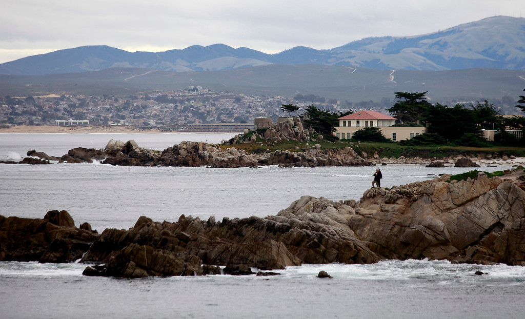 . Rain starting to fall near Hopkins Marine Station in Pacific Grove on Tuesday, Jan. 3, 2017.  (Vern Fisher - Monterey Herald)
