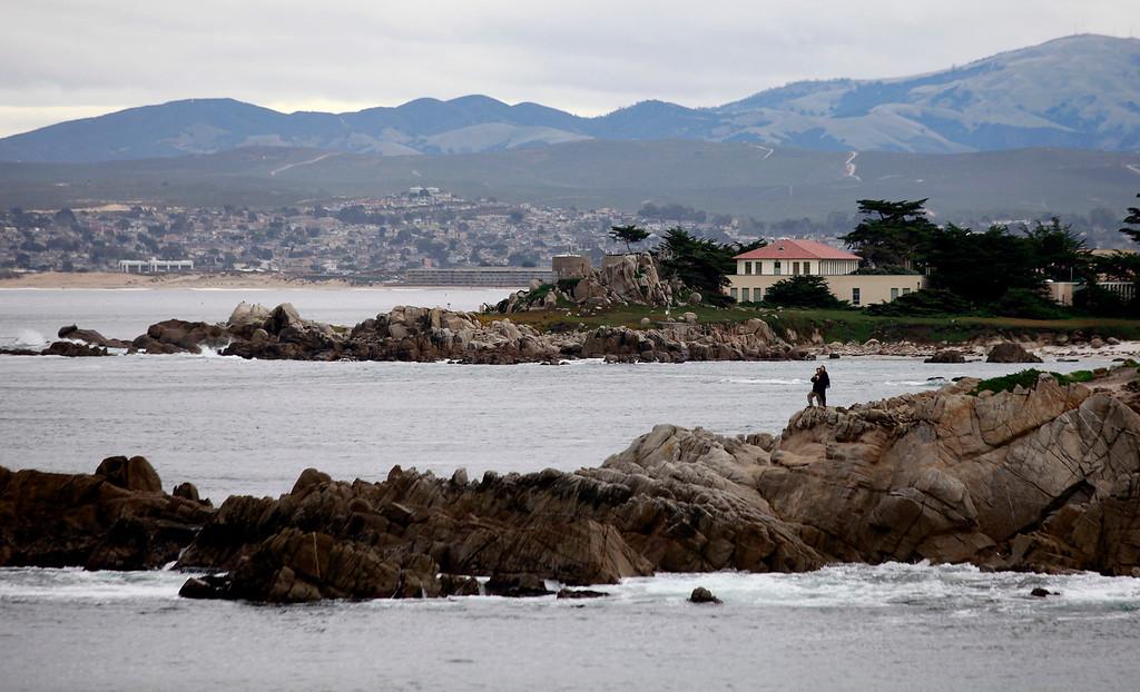 . Rain starting to fall near Hopkins Marine Station in Pacific Grove on Tuesday, Jan. 3, 2017.  (Vern Fisher - Monterey Herald)
