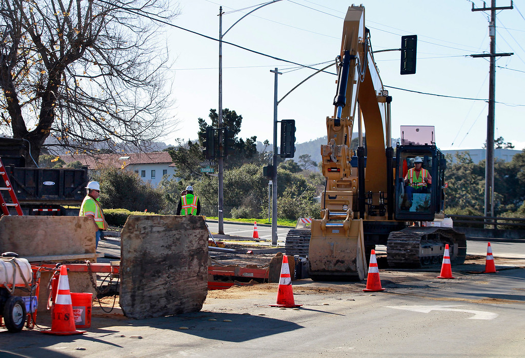 . Heavy equipment on scene as work begins on CalAm\'s Monterey Peninsula Water Supply Project on Fairground Road in Monterey on Thursday, Jan. 5, 2017.  (Vern Fisher - Monterey Herald)