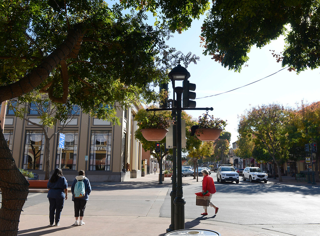 . Alisal Street and Main Street in old town Salinas on Tuesday, Dec. 12, 2017.  Salinas city officials have plans to revitalize downtown, plans that include changing one-way streets to two way. (Vern Fisher - Monterey Herald)