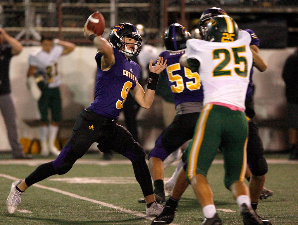 . Salinas High quarterback Brett Reade (9) attempts a pass in the second half of their Division 4-AA CIF State Football Championship Bowl Game against Placer High School on Friday, Dec. 8, 2017 in Salinas.  Placer High beat Salinas High in overtime 43-42 to advance to the CIF State Final.  (Vern Fisher - Monterey Herald)