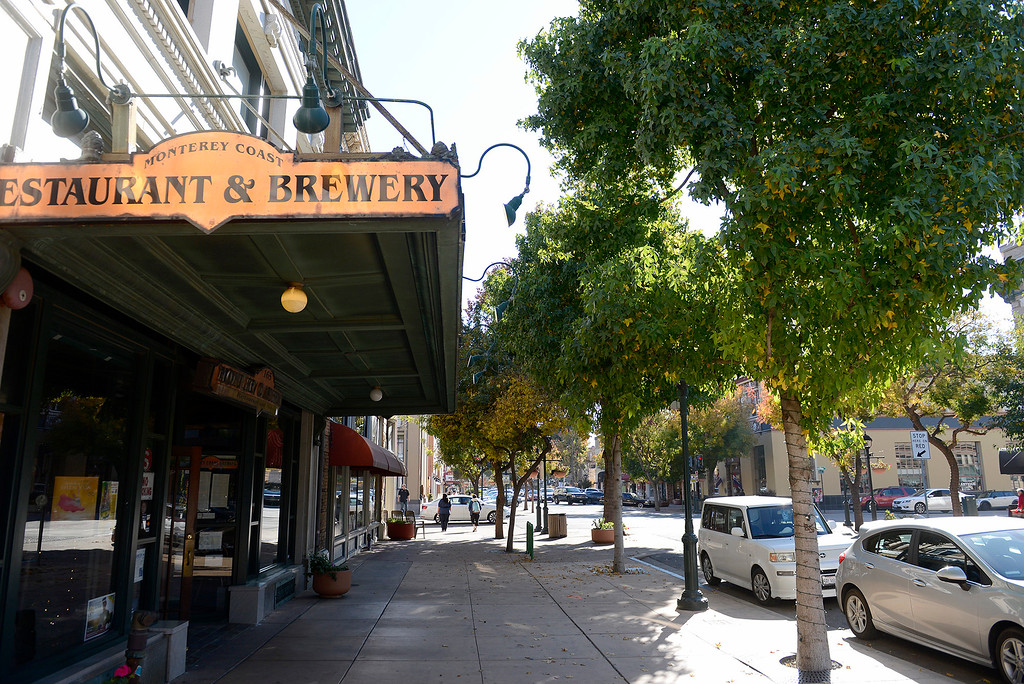 . Main Street in old town Salinas on Tuesday, Dec. 12, 2017.  Salinas city officials have plans to revitalize downtown, plans that include changing one-way streets to two way. (Vern Fisher - Monterey Herald)