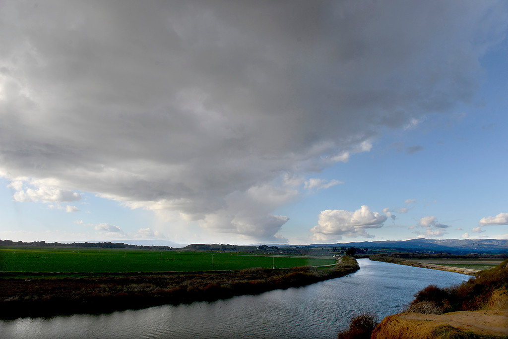 . Cloudy and windy conditions over the Pajaro River Monday, Feb. 19, 2018.  (Vern Fisher - Monterey Herald)