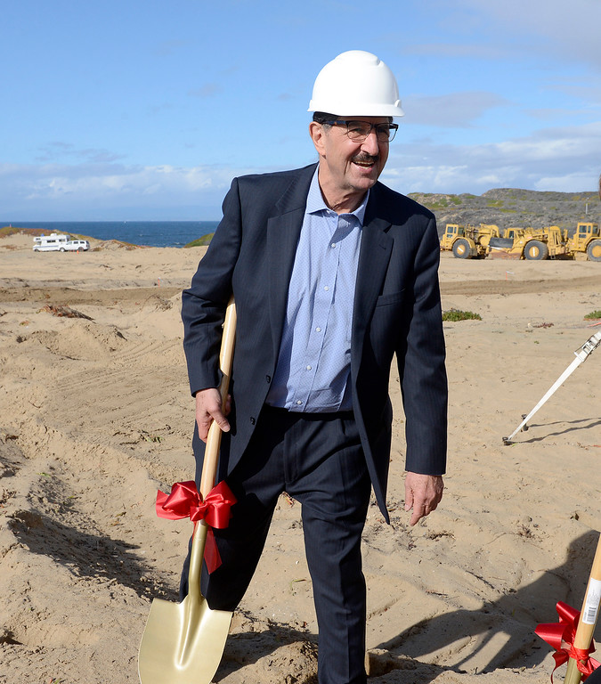 . Resort developer Ed Ghandour attends the groundbreaking ceremony of the Monterey Bay Shores Resort, a luxury eco-resort being built in Sand City on Thursday, Feb. 22, 2018.  The mixed-use project consists of 184 hotel rooms, 92 hotel condominium units and 92 residential condominiums.  (Vern Fisher - Monterey Herald)