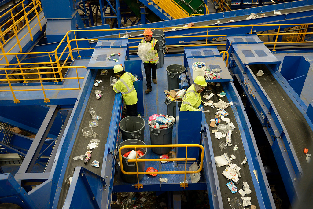 . The Monterey Regional Waste Management District installed a new $24 million materials recovery facility in Marina on Monday, Feb. 19, 2018.  (Vern Fisher - Monterey Herald)