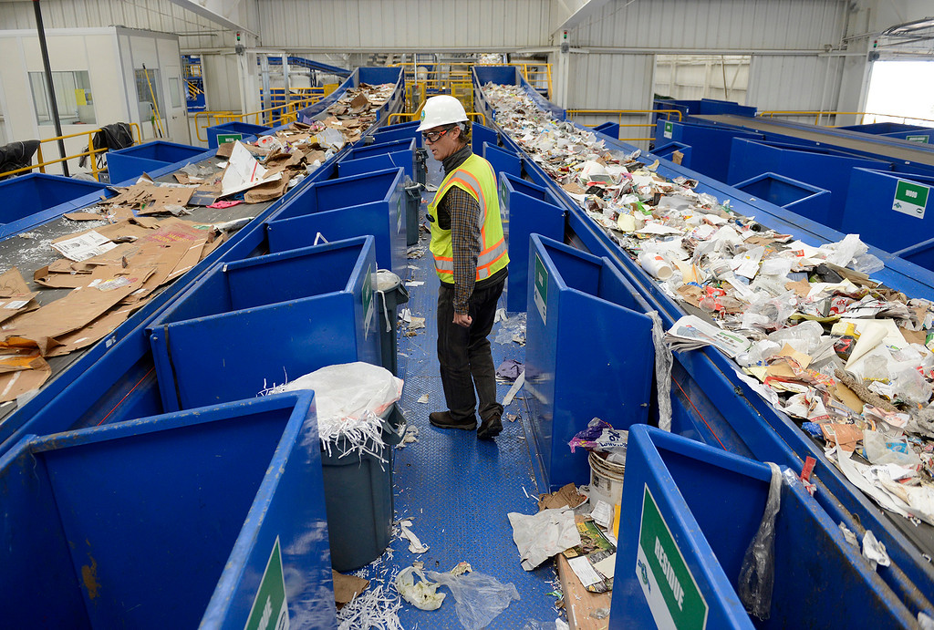 . Jeff Lindenthal with the The Monterey Regional Waste Management District checks out their new $24 million materials recovery facility in Marina on Monday, Feb. 19, 2018.  (Vern Fisher - Monterey Herald)