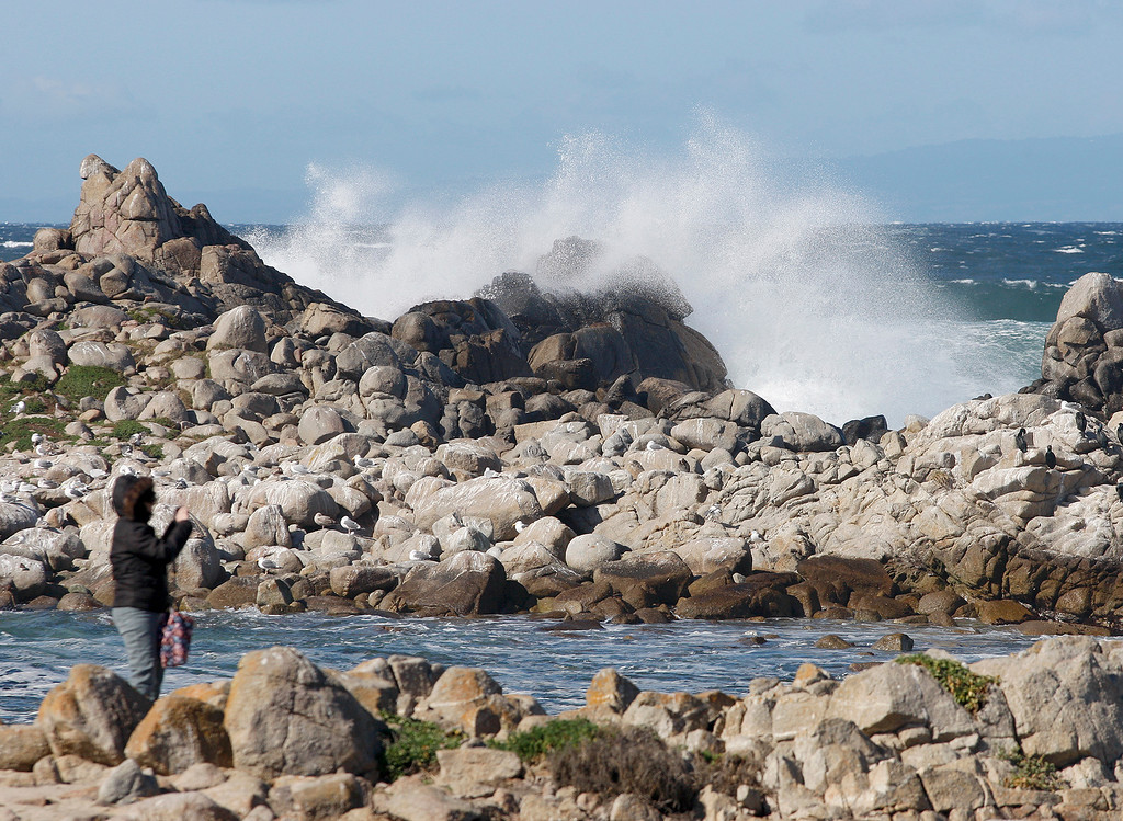 . Beach goers experienced windy and cold conditions in Pacific Grove on Monday, Feb. 19, 2018.  (Vern Fisher - Monterey Herald)