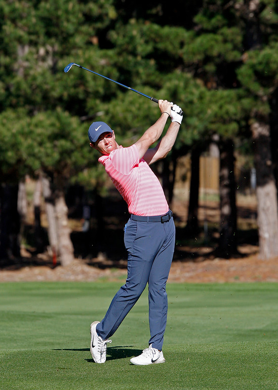 . Rory McIlroy on the sixth hole at Spyglass Hill Golf Course during the first round of the AT&T Pebble Beach Pro-Am on Thursday, Feb. 8, 2018.  (Vern Fisher - Monterey Herald)