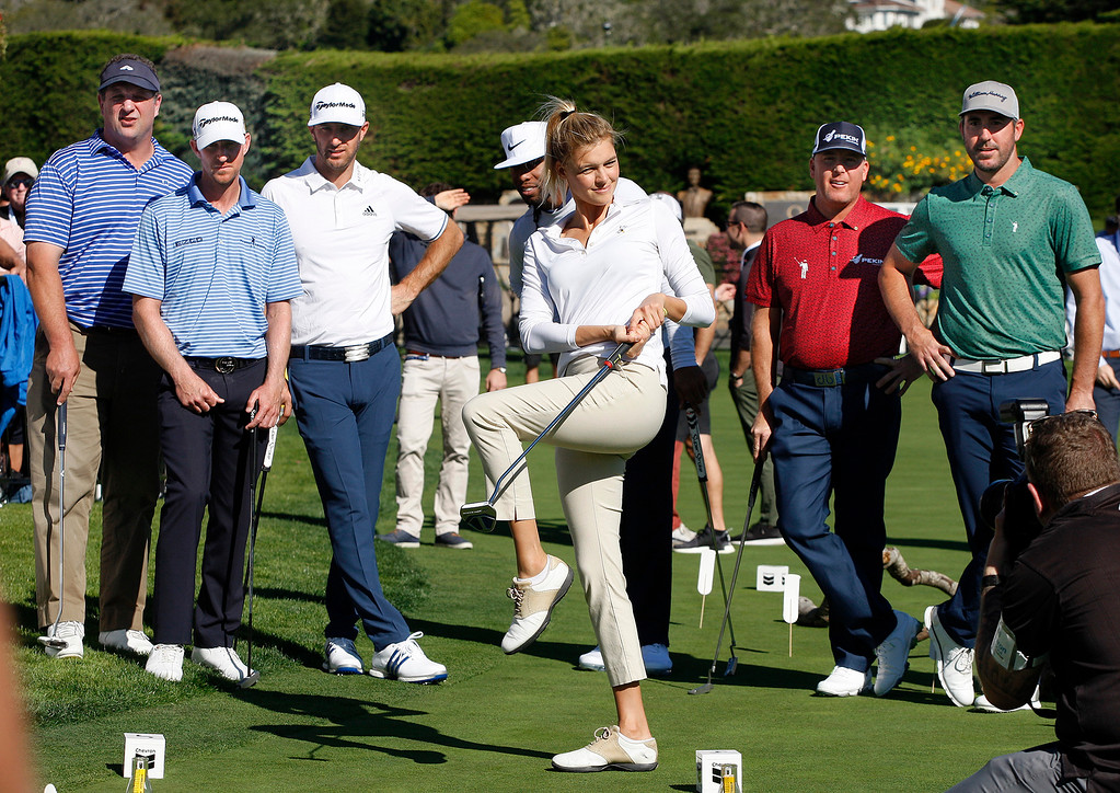 . Actress Kelly Rohrbach putts on a hole in the Chevron Shoot-Out at the Pebble Beach Golf Links practice green on Tuesday, Feb. 6, 2018.  The Chevron Shoot-Out is a two-person teams that faced off in a five-hole putting challenge for charity. Teams were made by pairing past tournament champions with champions from other sports.  (Vern Fisher - Monterey Herald)