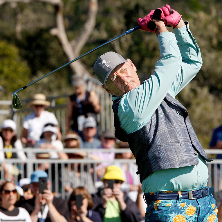 . Bill Murray hits a tee shot from the 17th hole during the 3M Celebrity Shoot-Out at the Pebble Beach Golf Links in Pebble Beach on Wednesday, Feb. 7, 2018.   (Vern Fisher - Monterey Herald)