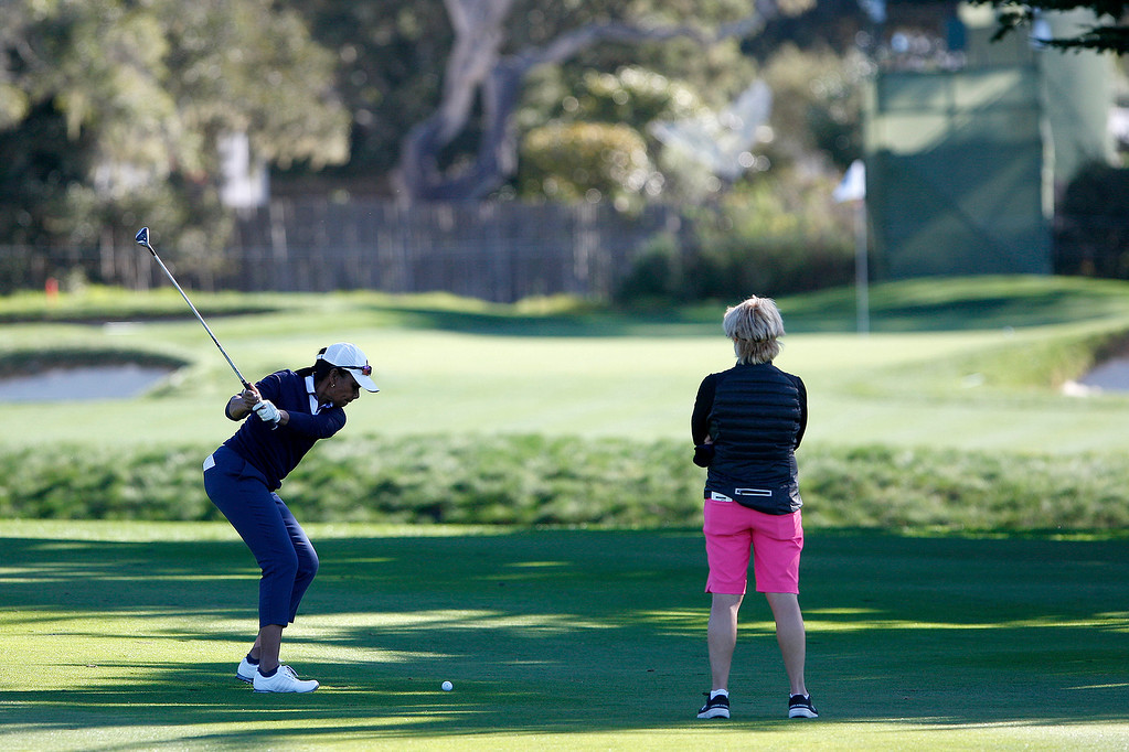 . Condoleezza Rice on the second-hole at the Pebble Beach Golf Links during a practice round on Tuesday, Feb. 6, 2018.   (Vern Fisher - Monterey Herald)