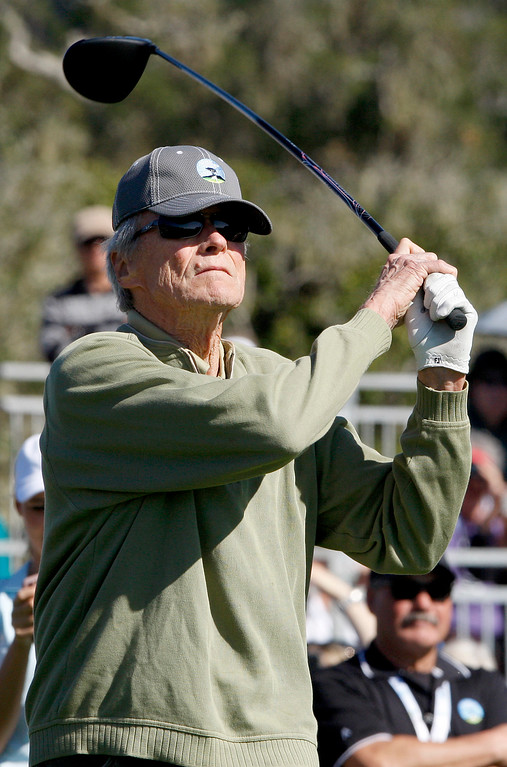 . Clint Eastwood hits a tee shot from the 17th hole during the 3M Celebrity Shoot-Out at the Pebble Beach Golf Links in Pebble Beach on Wednesday, Feb. 7, 2018.   (Vern Fisher - Monterey Herald)