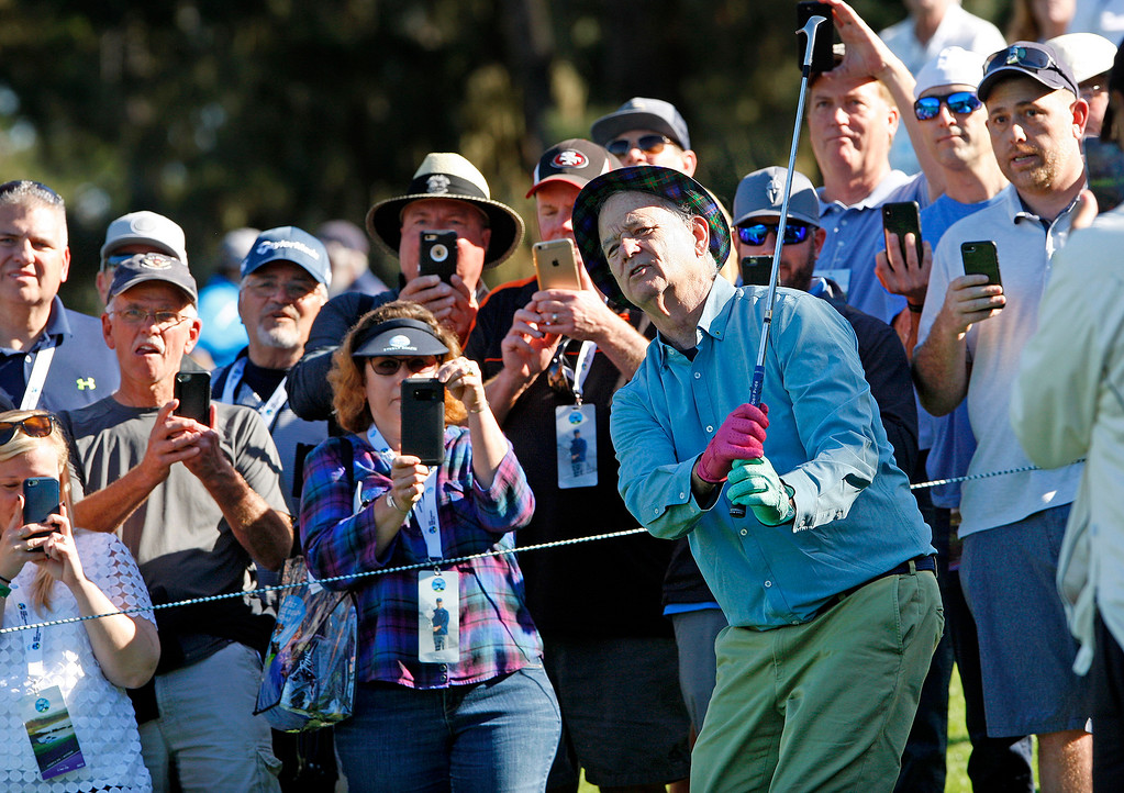 . Bill Murray had plenty of camera phones on him as he played Spyglass Hill Golf Course during the first round of the AT&T Pebble Beach Pro-Am on Thursday, Feb. 8, 2018.  (Vern Fisher - Monterey Herald)