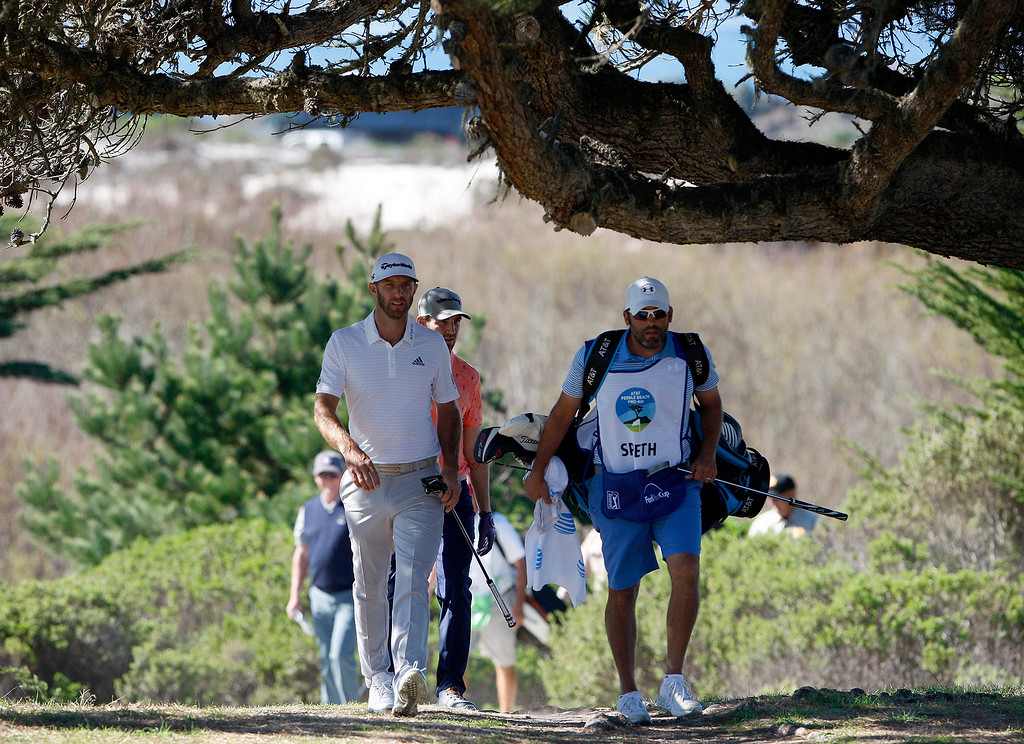 . Dustin Johnson at Monterey Peninsula Country Club Shore Course during the second round of the AT&T Pebble Beach Pro-Am on Friday, Feb. 9, 2018.  (Vern Fisher - Monterey Herald)
