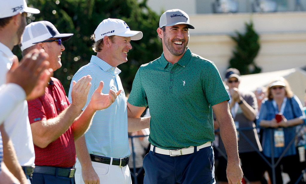 . PGA pro Brandt Snedeker with Justin Verlander during the Chevron Shoot-Out at the Pebble Beach Golf Links practice green on Tuesday, Feb. 6, 2018.  The Chevron Shoot-Out is a two-person teams that faced off in a five-hole putting challenge for charity. Teams were made by pairing past tournament champions with champions from other sports.  (Vern Fisher - Monterey Herald)