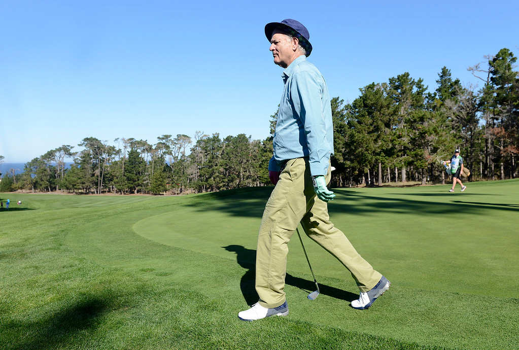 . Actor Bill Murray walks the green on the sixth hole at Spyglass Hill Golf Course during the first round of the AT&T Pebble Beach Pro-Am on Thursday, Feb. 8, 2018.  (Vern Fisher - Monterey Herald)