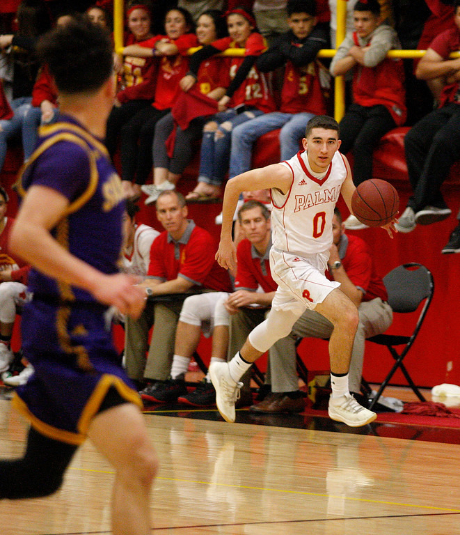 . Palma\'s Eric Roggio (0) heads up the court during their game at home against Salinas High on Friday, Feb. 2, 2018.  (Vern Fisher - Monterey Herald)