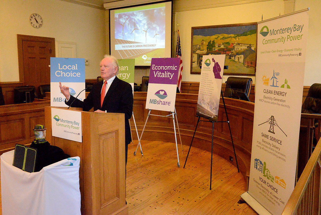". Bruce McPherson, MBCP Policy Board Chair, County Supervisor of Santa Cruz, speaks at a press conference on Monterey Bay Community Power\'s ""first day of electric service\"" in Monterey on Thursday, March 1, 2018.  (Vern Fisher - Monterey Herald)"