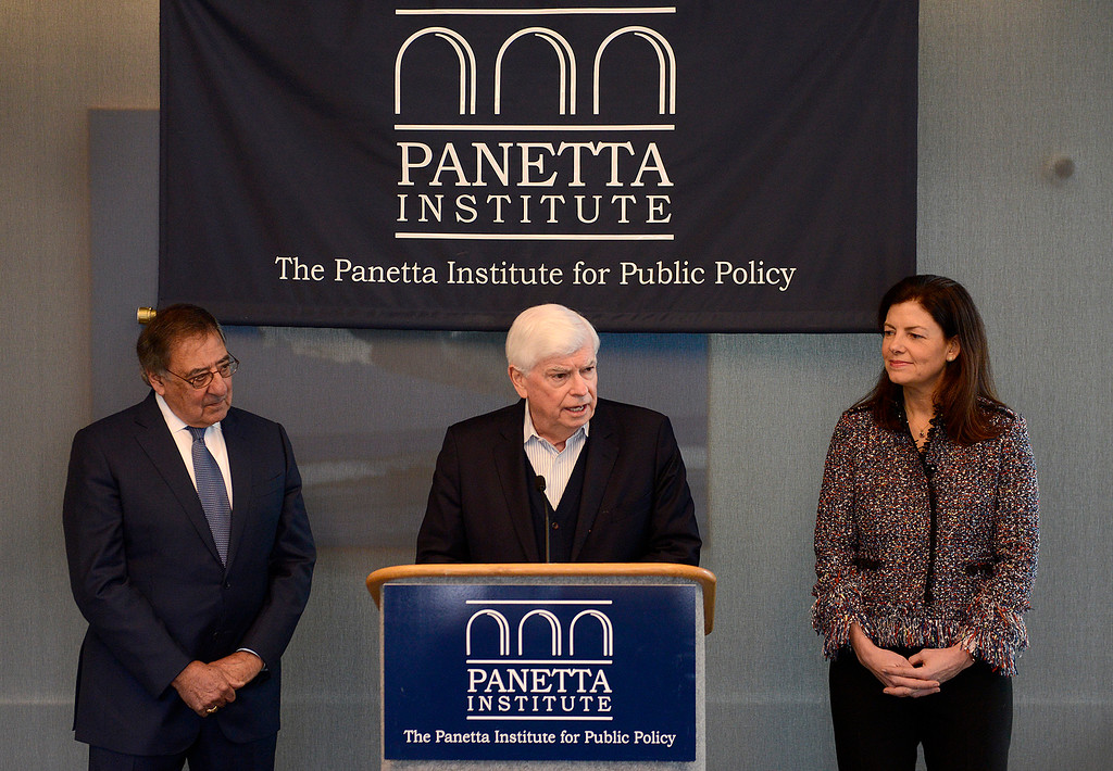 . Leon Panetta with former U.S. Senator from Connecticut Chris Dodd and former U.S. Senator from New Hampshire Kelly Ayotte speak at the Panetta Lecture Series in Monterey on Monday, Feb. 26, 2018.  (Vern Fisher - Monterey Herald)