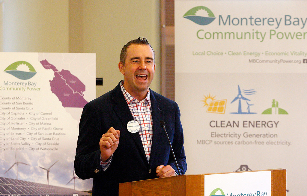 ". Steve McShane, MBCP Policy Board, Councilmember City of Salinas, speaks at a press conference on Monterey Bay Community Power\'s ""first day of electric service\"" in Monterey on Thursday, March 1, 2018.  (Vern Fisher - Monterey Herald)"