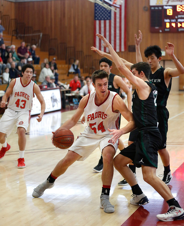 . Carmel\'s JT Byrne drives to the basket against Harker during CCS playoff basketball at Hartnell College in Salinas, Calif. on Saturday February 24, 2018. (David Royal/Herald Correspondent)