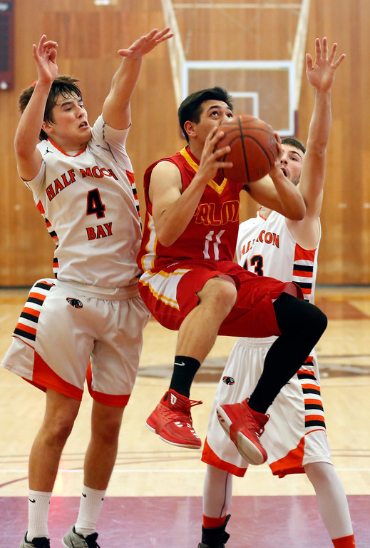 . Palma\'s Joey Burlison shoots against Half Moon Bay during CCS playoff basketball at Hartnell College in Salinas, Calif. on Saturday February 24, 2018. (David Royal/Herald Correspondent)
