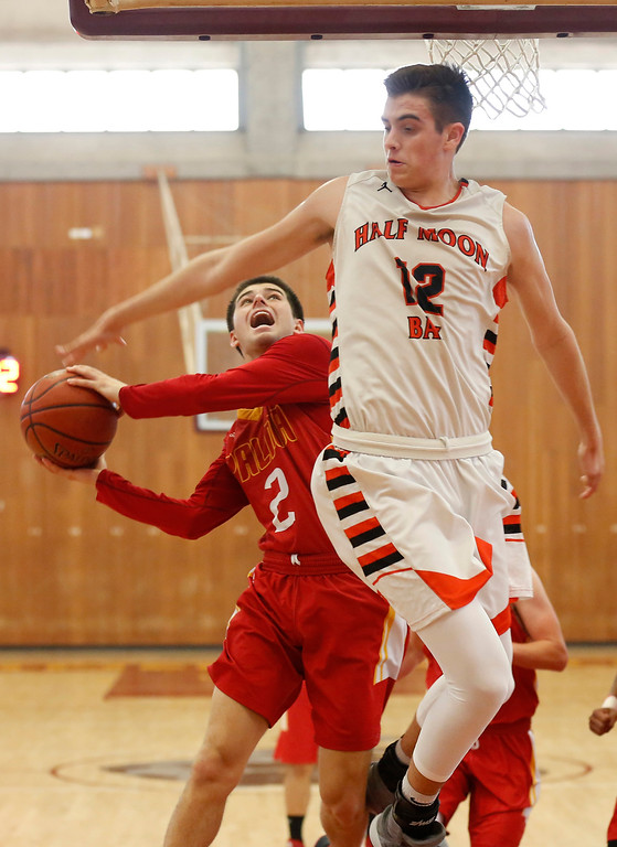 . Palma\'s Sacramento Figueroa shoots against Half Moon Bay\'s Ethan Menzies during CCS playoff basketball at Hartnell College in Salinas, Calif. on Saturday February 24, 2018. (David Royal/Herald Correspondent)