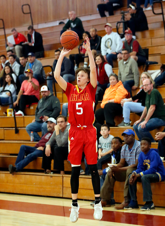 . Palma\'s Peyton Seelye shoots against Half Moon Bay\'s   during CCS playoff basketball at Hartnell College in Salinas, Calif. on Saturday February 24, 2018. (David Royal/Herald Correspondent)