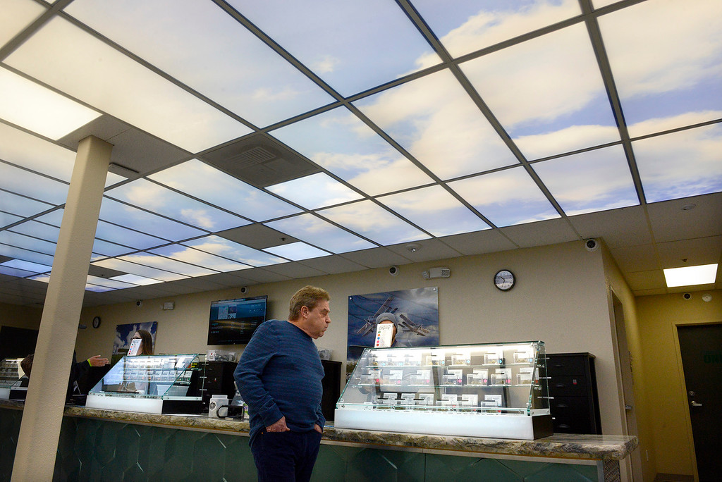 . Robert Blodgett inside his marijuana dispensary Emerald Skyway in Salinas on Wednesday, Feb. 28, 2018.  It\'s the first marijuana dispensary to open in Salinas and has been open since mid January.  (Vern Fisher - Monterey Herald)