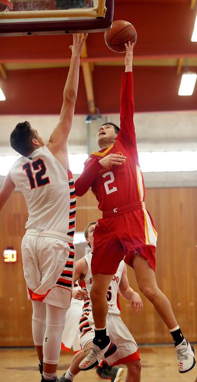 . Palma\'s Sacramento Figueroa shoots against Half Moon Bay during CCS playoff basketball at Hartnell College in Salinas, Calif. on Saturday February 24, 2018. (David Royal/Herald Correspondent)