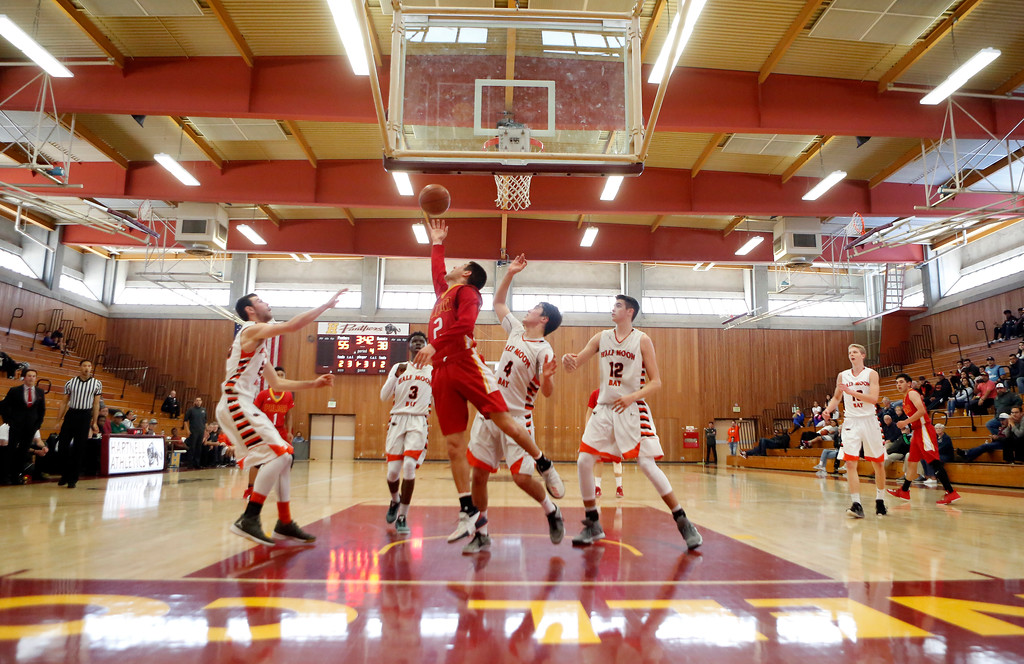 . Palma\'s Sacramento Figueroa shoots against Half Moon Bay during CCS playoff basketball at Hartnell College in Salinas, Calif. on Saturday February 24, 2018. (David Royal/Herald Correspondent)