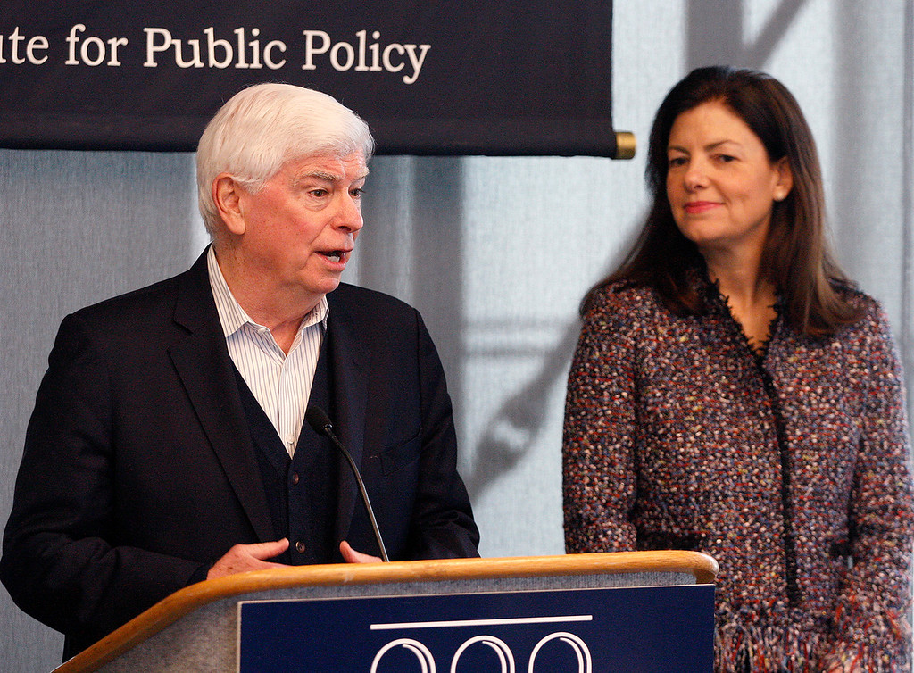 . Former U.S. Senator from Connecticut Chris Dodd with former U.S. Senator from New Hampshire Kelly Ayotte speak at the Panetta Lecture Series in Monterey on Monday, Feb. 26, 2018.  (Vern Fisher - Monterey Herald)