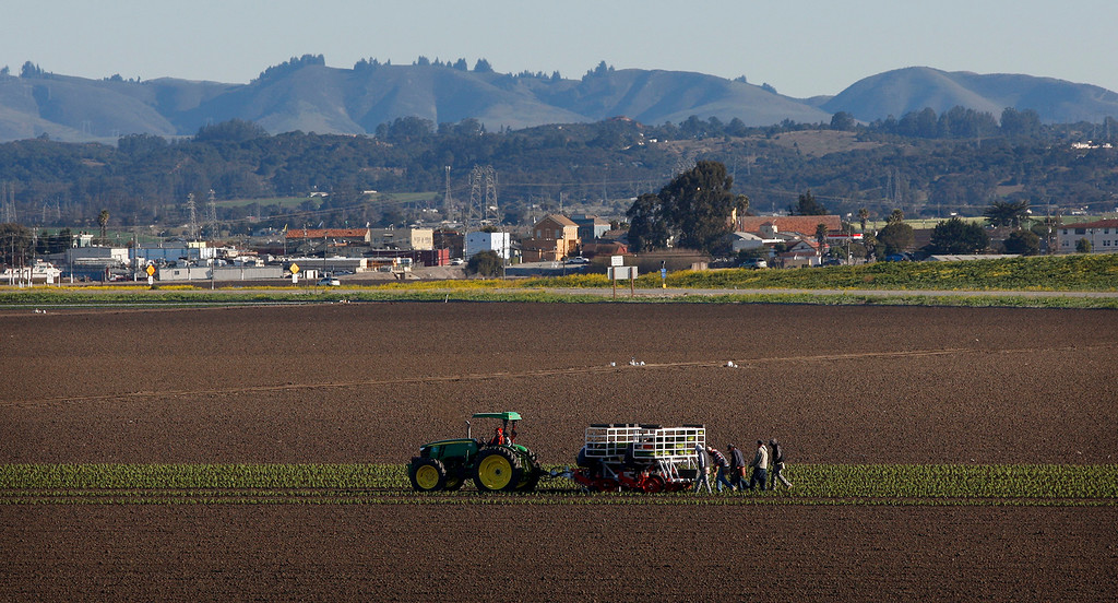 . Farmworkers plant a field near Castroville on Tuesday, Feb. 27, 2018.  (Vern Fisher - Monterey Herald)