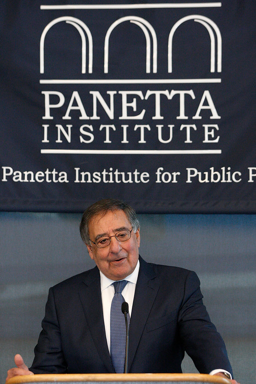 . Leon Panetta introduces former U.S. Senator from Connecticut Chris Dodd and former U.S. Senator from New Hampshire Kelly Ayotte at the Panetta Lecture Series in Monterey on Monday, Feb. 26, 2018.  (Vern Fisher - Monterey Herald)