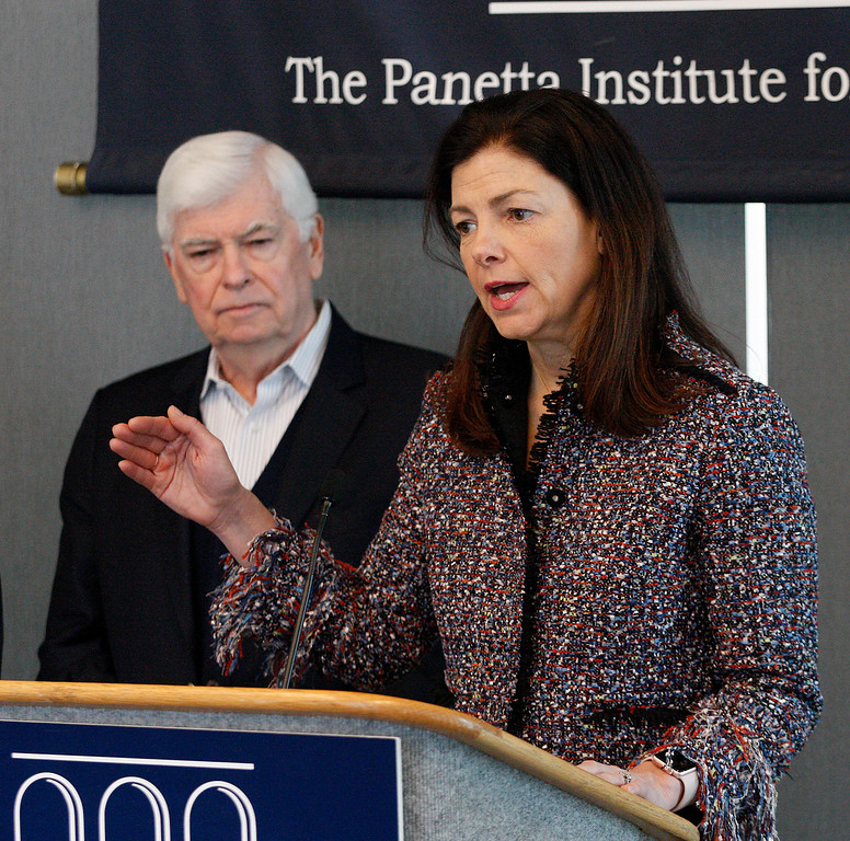 . Former U.S. Senator from Connecticut Chris Dodd listens to former U.S. Senator from New Hampshire Kelly Ayotte speak at the Panetta Lecture Series in Monterey on Monday, Feb. 26, 2018.  (Vern Fisher - Monterey Herald)
